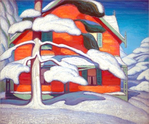 Lawren Harris, Pine tree and red house.