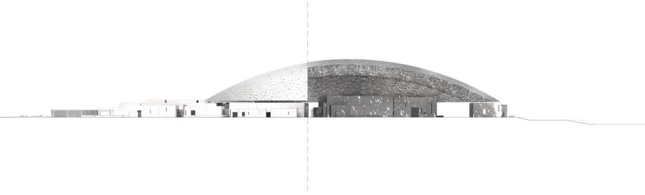 Sezione/prospetto - Louvre di Abu Dhabi, © Ateliers Jean Nouvel.