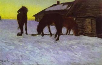 Valentin Serov, Cavalli all'abbeveratoio, 1904.