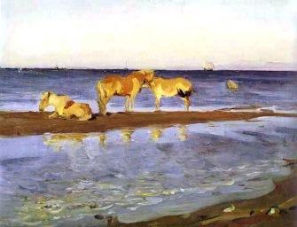 Valentin Serov, Cavalli sulla spiaggia, 1905.
