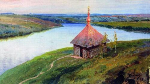 Vasilij Polenov, Cappella sulle rive dell'Oka, 1893.