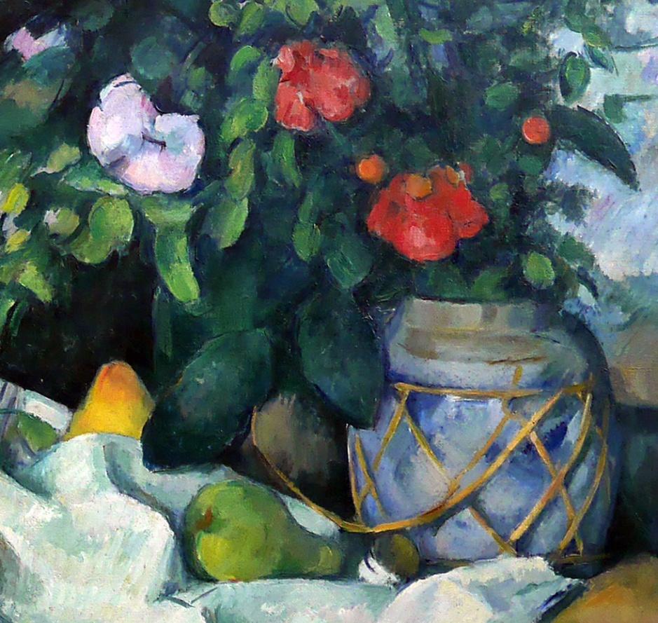 05_Paul Cézanne, natura morta con fiori e frutta, 1890-part