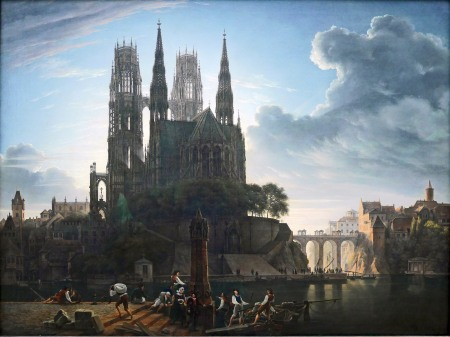 Karl Friedrich Schinkel, Duomo gotico sull'acqua, 1813 circa