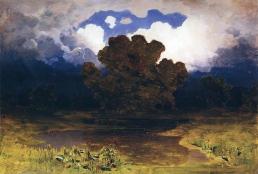Archip Kuindzi, Foresta, lago, nuvola, 1890