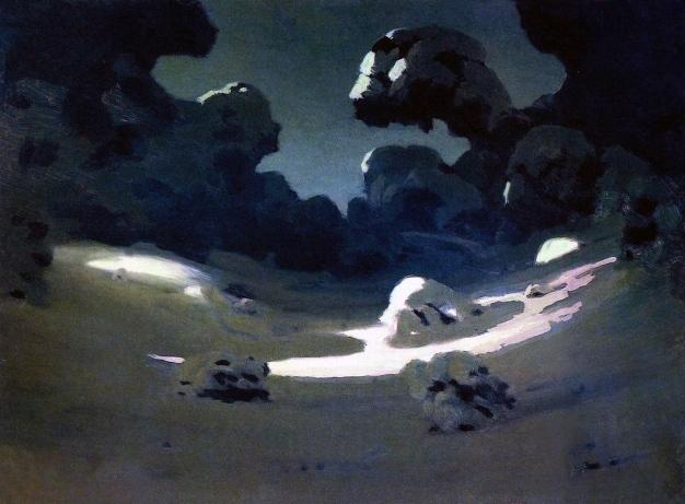 Archip Kuindzi, Macchie di luce lunare nella foresta, inverno, 1898