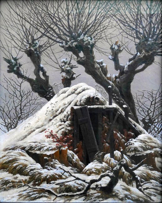 Caspar David Friedrich, Capanno coperto di neve,1827Caspar David Friedrich, Capanno coperto di neve,1827