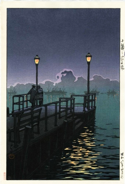 hasui HARBOR AT NIGHT, OTARU