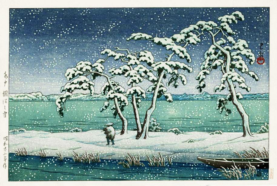 hasui SNOW AT KONUMA SWAMP IN MITO