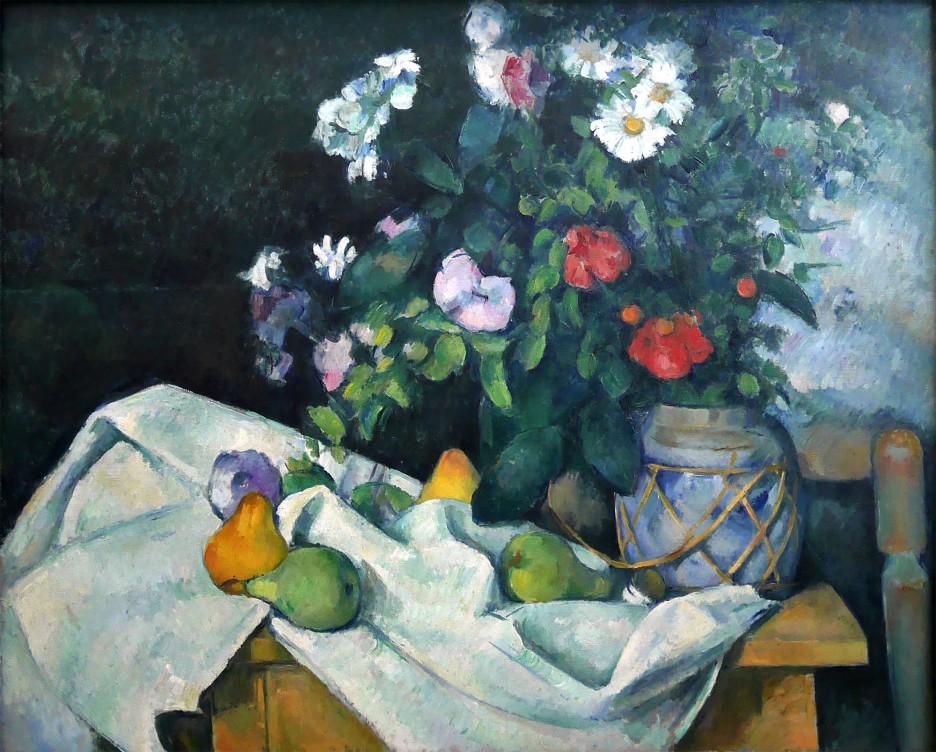 Paul Cézanne, natura morta con fiori e frutta, 1890