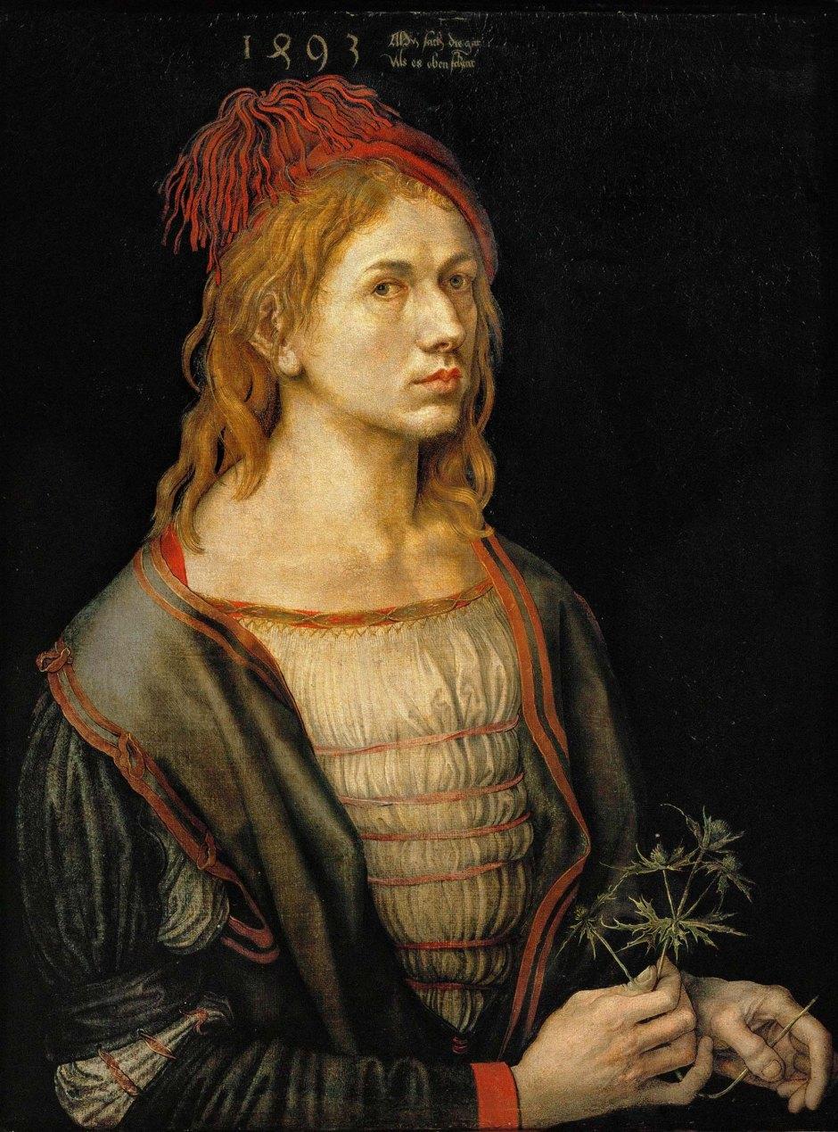 Albrecht Dürer, Autoritratto con fiore d'eringio