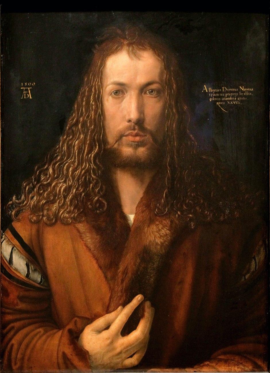 Albrecht Dürer, autoritratto con pelliccia, 1500