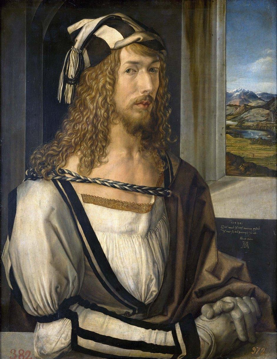 Albrecht_Dürer, autoritratto con guanti, 1498