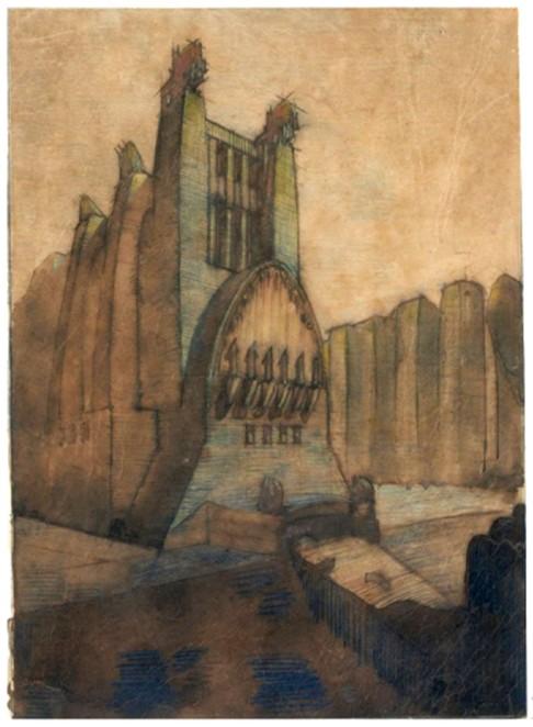 Antonio Sant'Elia, Edificio di culto monumentale con scalinata e statue