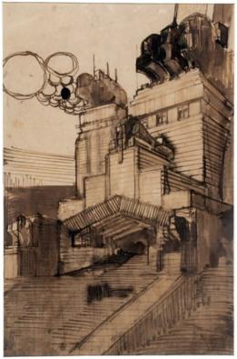 Antonio Sant'Elia, Facciata del transetto di una grande chiesa metropolitana, 1912
