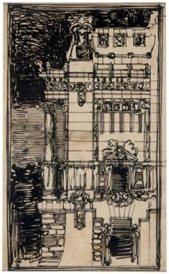 Antonio Sant'Elia, Palazzo, studio della soluzione angolare 1908-09 (esercitazione accademica)
