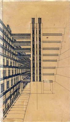 Antonio Sant'Elia, Via secondaria per pedoni con ascensori nel mezzo, 1914