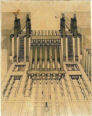 Antonio Sant'Elia, Stazione d'aeroplani e treni con funicolari e ascensori su tre piani stradali