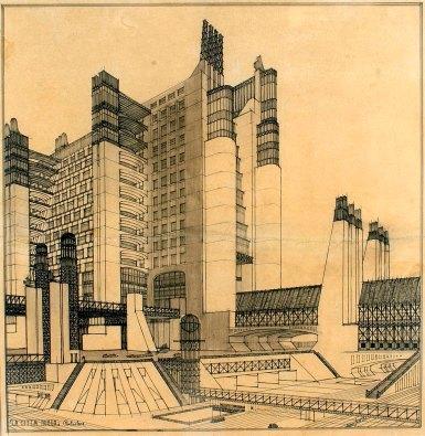 Antonio Sant'Elia, la città nuova (particolare), 1914