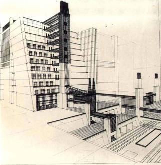 Antonio Sant'Elia, Casa a gradinata con ascensori dai quattro piani stradali, 1914