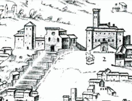 Il Campidoglio in un'incisione del XVI secolo, prima dell'intervento di Michelangelo Buonarroti
