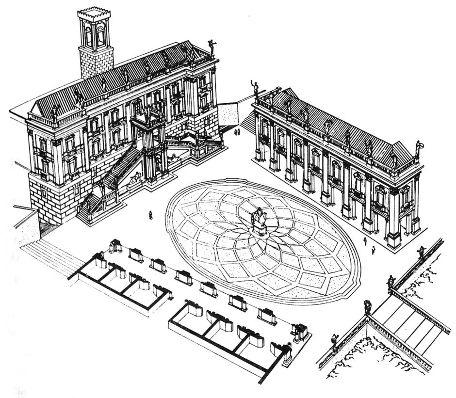Schema del progetto di Piazza del Campidoglio di Michelangelo Buonarroti