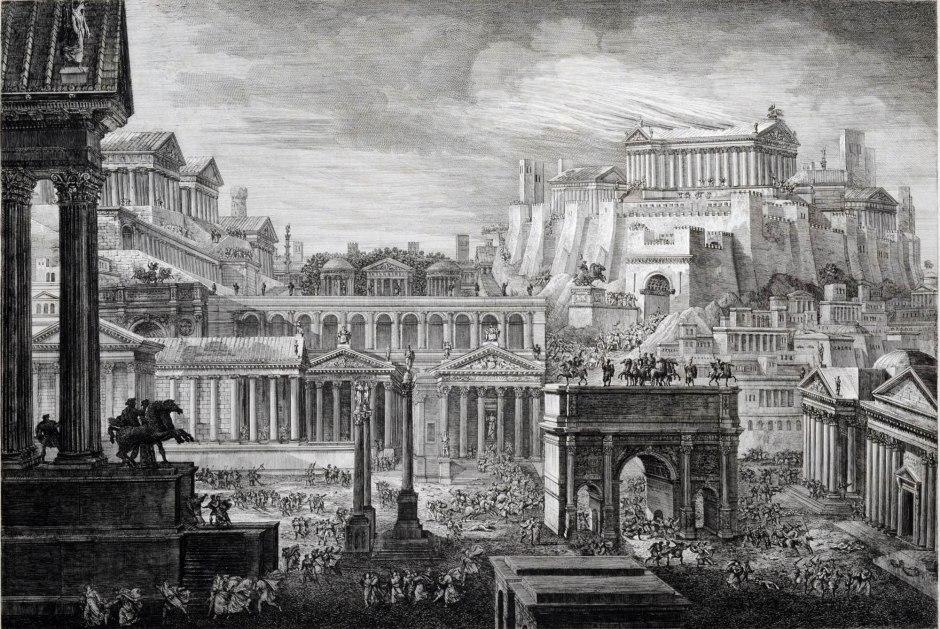 Luigi Rossini, Parte del Foro Romano e del Monte Capitolino col Tempio di Giove, 1829