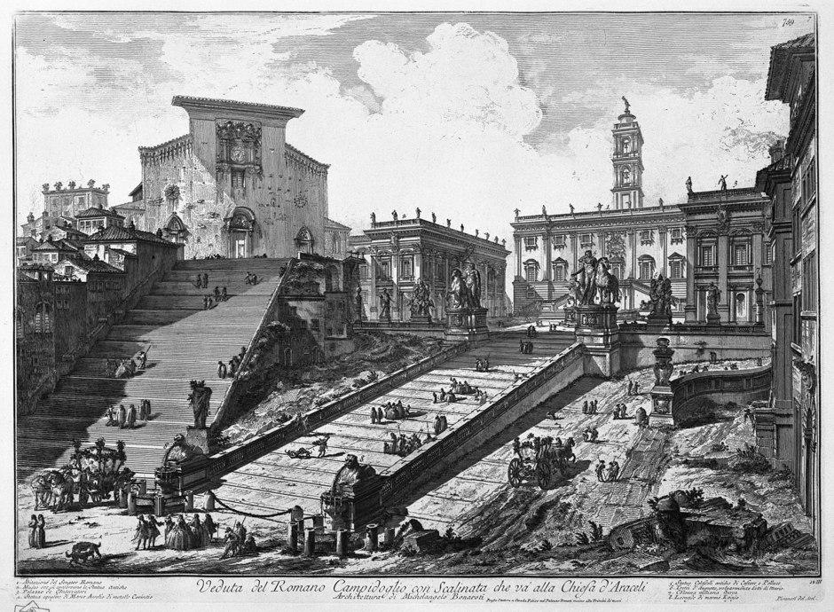 Giovanni Battista Piranesi, Veduta del Romano Campidoglio con Scalinata che va alla Chiesa d'Araceli, 1748-74