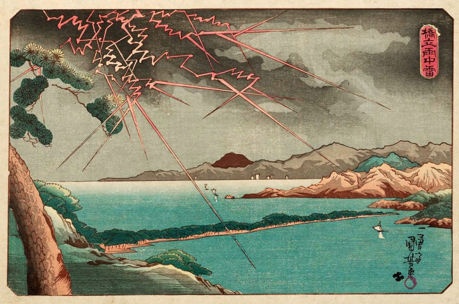 Utagawa Kuniyoshi - Ama no Hashidate in Rain and Lightning