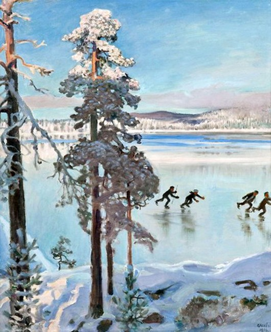 Akseli Gallen-Kallela, Pattinatori vicino alla riva di Kalela,1896