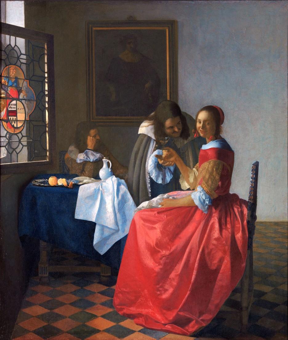 Johannes Vermeer, Due gentiluomini e una fanciulla con bicchiere di vino, 1659-60