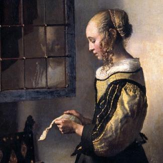 Johannes Vermeer, Donna che legge una lettera davanti alla finestra, 1657, particolare