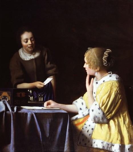 Johannes Vermeer, Fantesca che porge una lettera alla signora, 1667