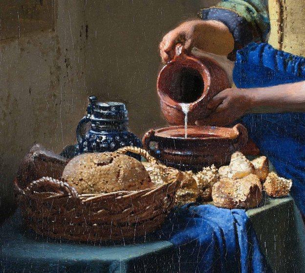 Johannes Vermeer, Lattaia, 1660, particolare