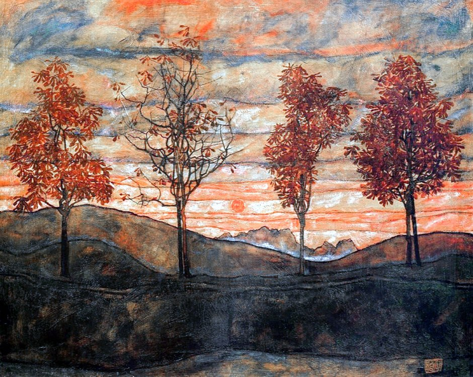 Egon Schiele Quattro alberi paesaggio img
