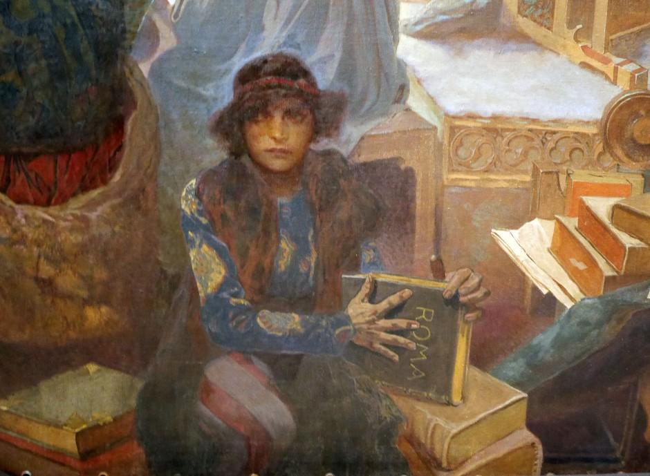 13 Il re hussita Jiri di Podebrad Alfons Mucha l'incoronazione dello zar serbo Stepan Dusan dett