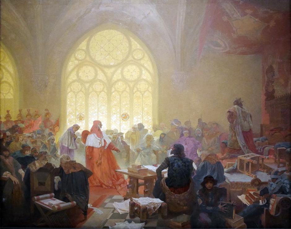 13 Il re hussita Jiri di Podebrad Alfons Mucha l'incoronazione dello zar serbo Stepan Dusan