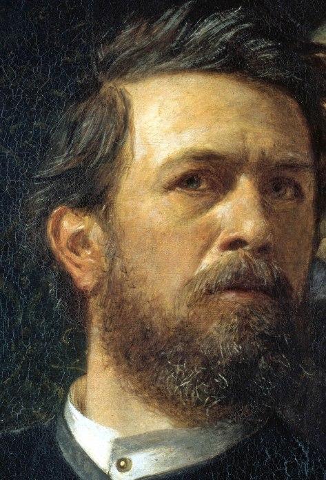 Arnold Böcklin, Autoritratto con la Morte che suona il violino, particolare