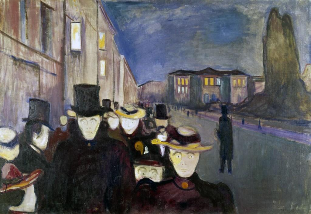 Edvard Munch, Sera sul viale Karl Johan, 1892.