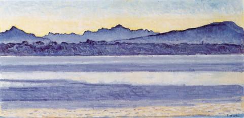 Ferdinand Hodler, Lago di Ginevra con Monte Bianco, 1918
