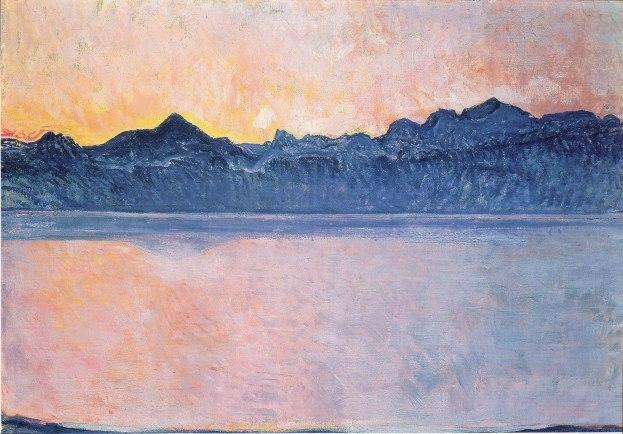 Ferdinand Hodler, Lago di Ginevra con Monte Bianco al mattino, 1918