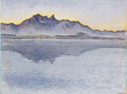 Ferdinand Hodler, Lago Thun con la catena dello Stockhorn di sera, 1912