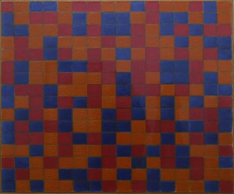 Piet mondrian, Composizione con griglia 8, composizione a scacchiera con colri scuri, 1919