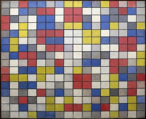Piet mondrian, Composizione con griglia 9, composizione a scacchiera con colori chiari, 1919