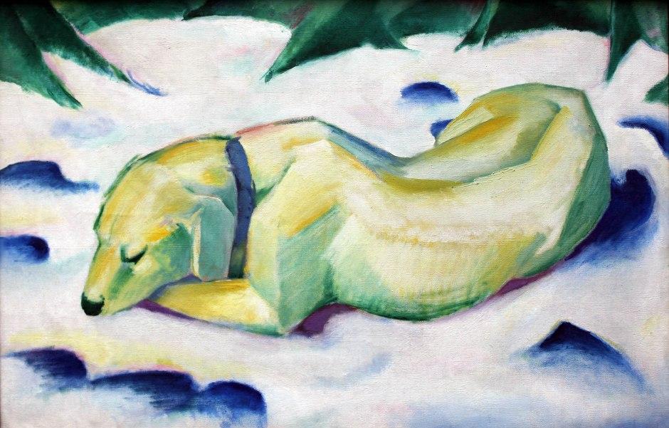 Franz Marc, Cane coricato sulla neve, 1911