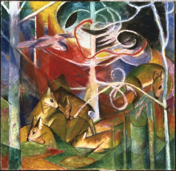 Franz Marc, Cervo nella foresta I, 1913