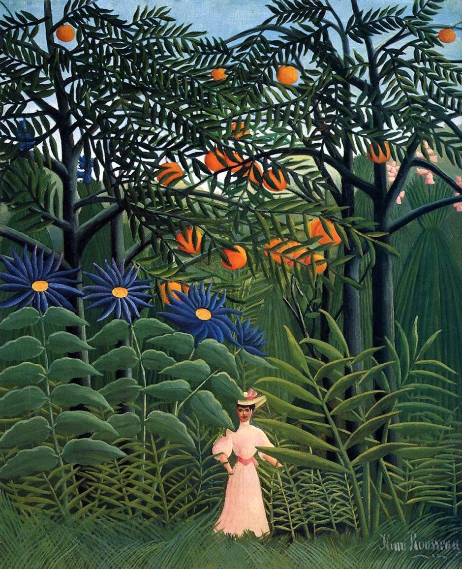 Henri Rousseau, Donna che cammina in una foresta esotica, 1905