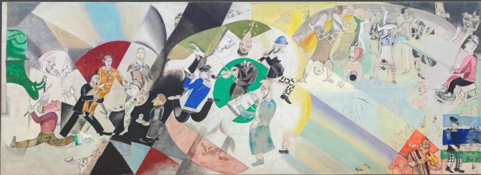 Marc Chagall, Introduzione al teatro ebraico, 1920 - tempera e caolino su tela, 284 x 787 cm - Galleria di Stato Tretjakov di Mosca © The State Tretyakov Gallery, Moscow, Russia © Chagall ®, by SIAE 2018