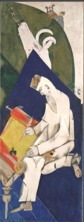 Marc Chagall, La letteratura, 1920 - tempera e caolino su tela, 216 x 81,3 cm - Galleria di Stato Tretjakov di Mosca. © The State Tretyakov Gallery, Moscow, Russia © Chagall ®, by SIAE 2018