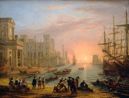 Claude Lorrain, Porto al tramonto, 1639