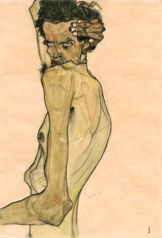 Egon Schiele, Autoritratto con braccio intorno alla testa, 1910
